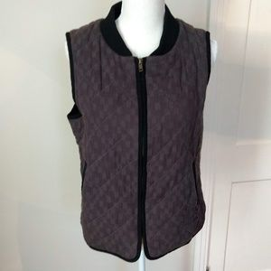 Grey with black trim quilted cotton vest